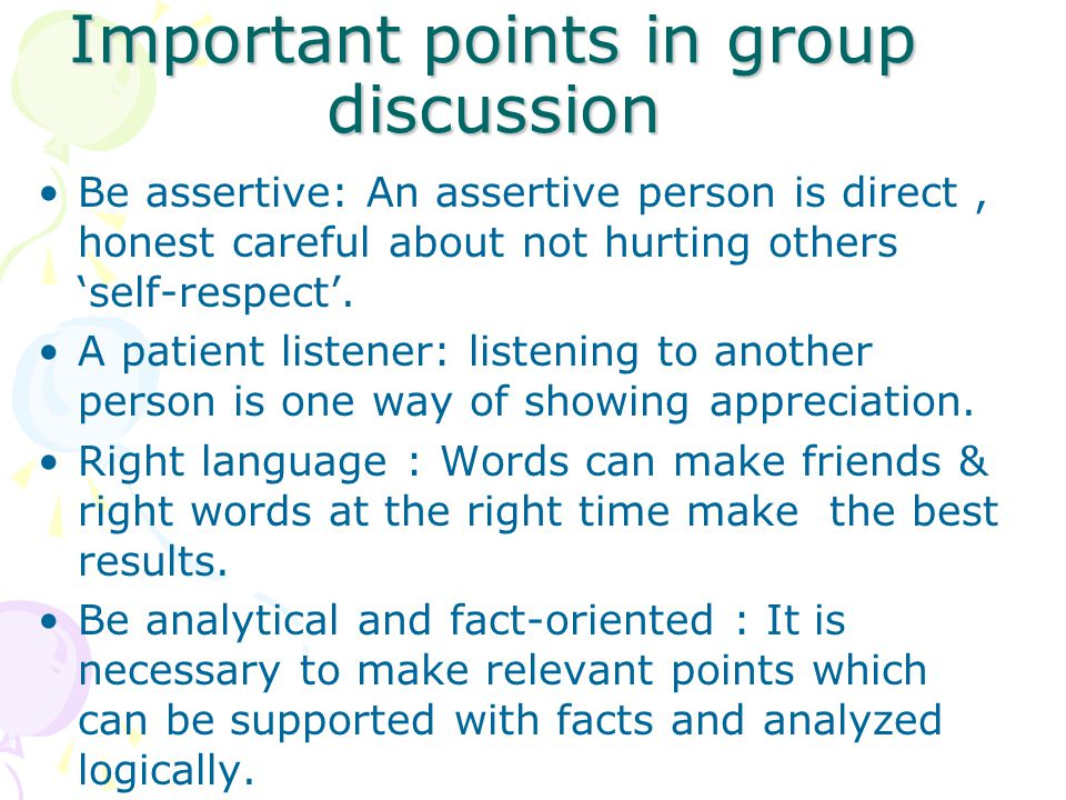 Important points in group discussion