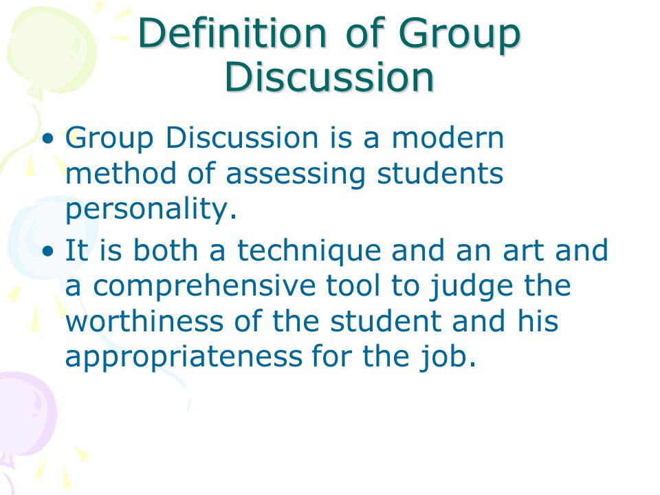 Definition of Group Discussion