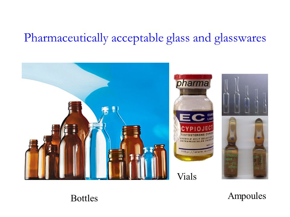 Pharmaceutically acceptable glass and glasswares