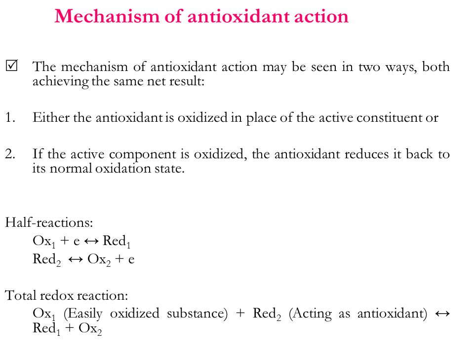 Mechanism of antioxidant action