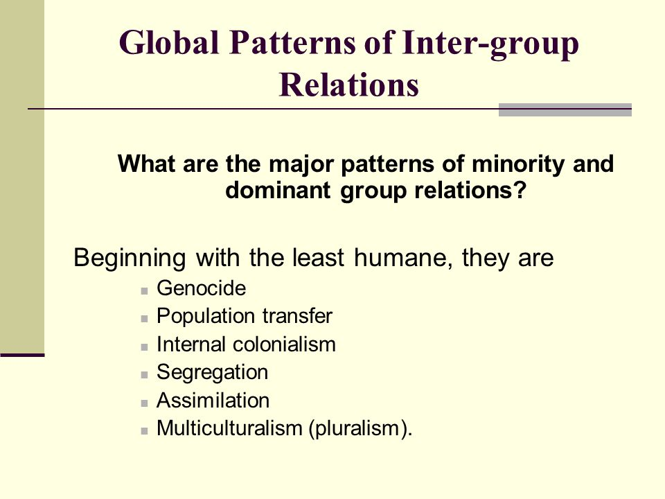 Global Patterns of Inter-group Relations