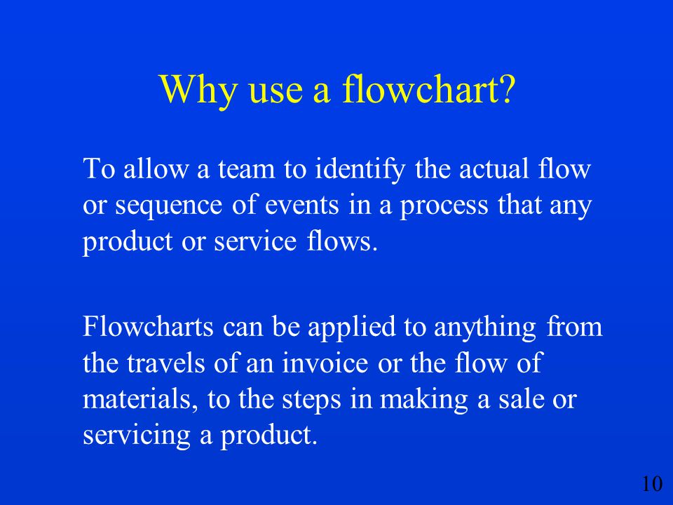 Why use a flowchart To allow a team to identify the actual flow or sequence of events in a process that any product or service flows.