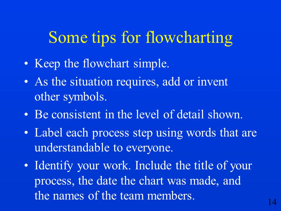 Some tips for flowcharting