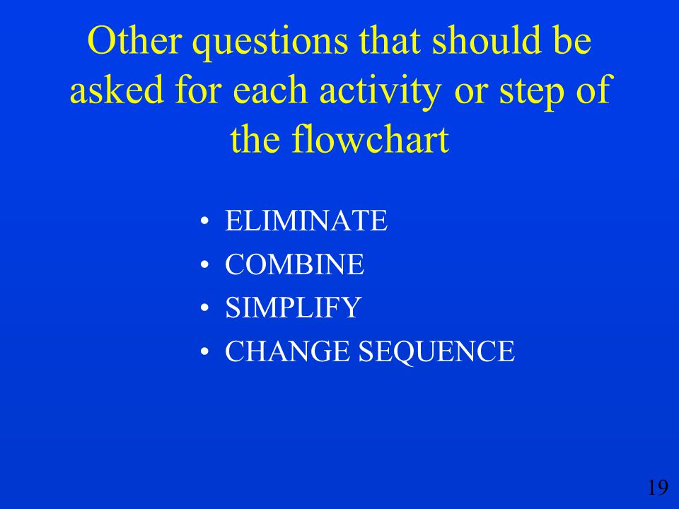 Other questions that should be asked for each activity or step of the flowchart