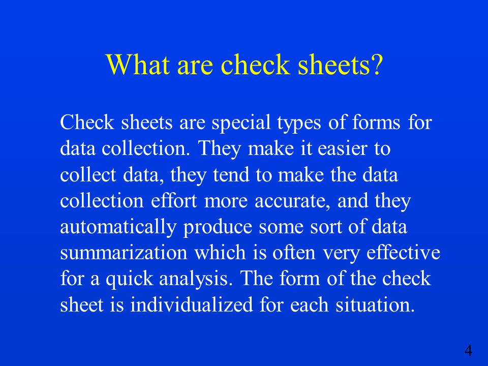 What are check sheets