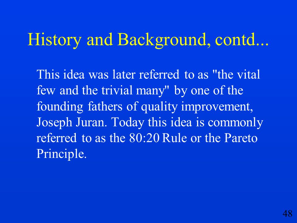 History and Background, contd...