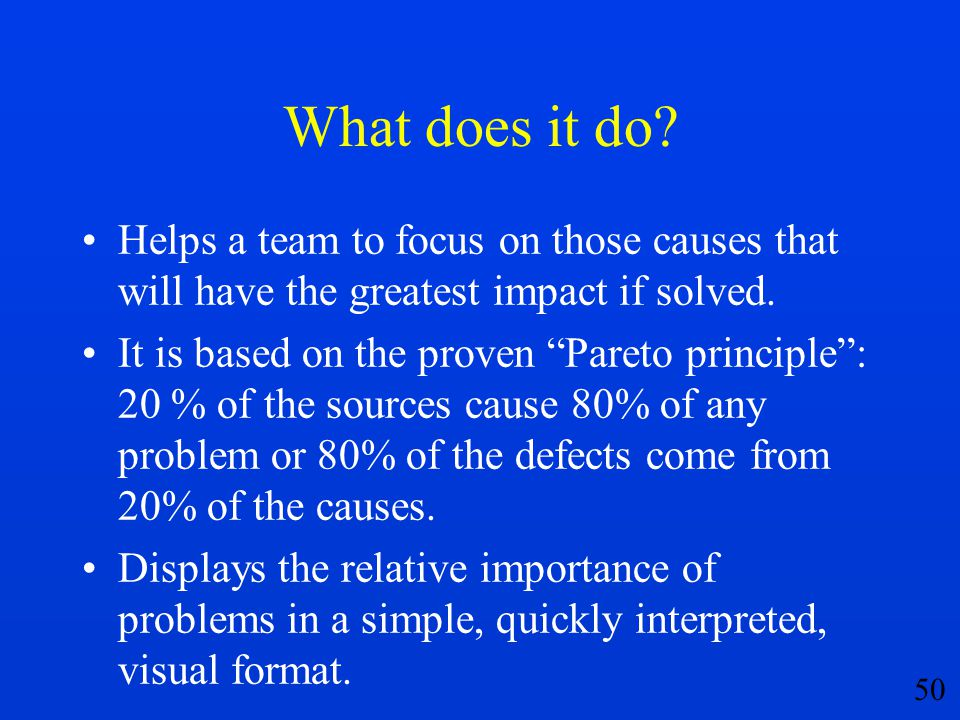 What does it do Helps a team to focus on those causes that will have the greatest impact if solved.