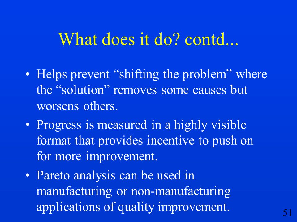 What does it do contd... Helps prevent shifting the problem where the solution removes some causes but worsens others.