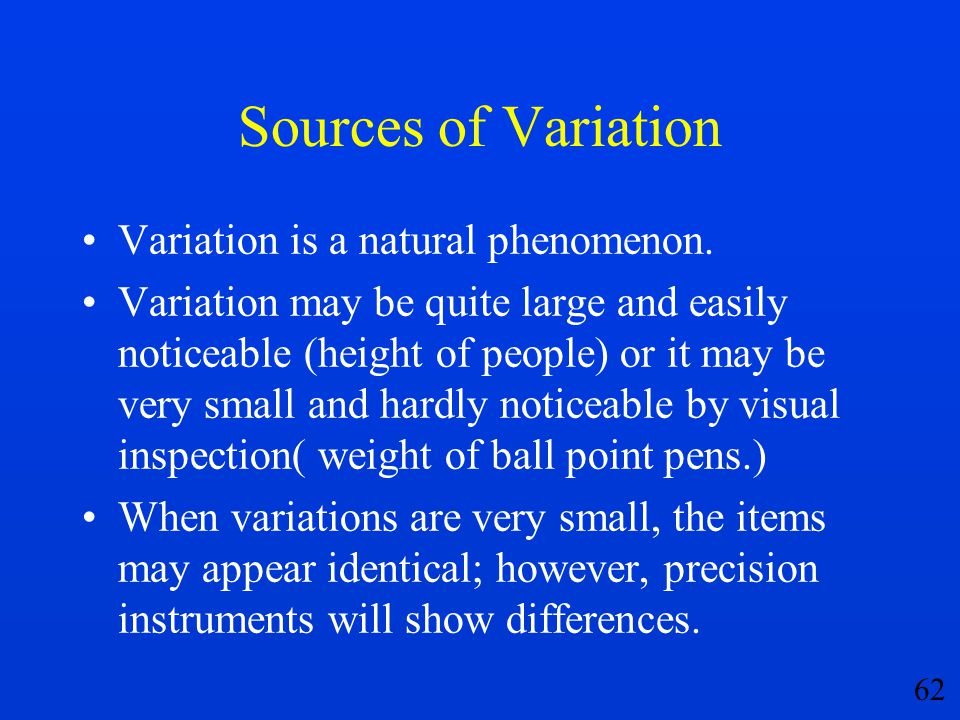 Sources of Variation Variation is a natural phenomenon.