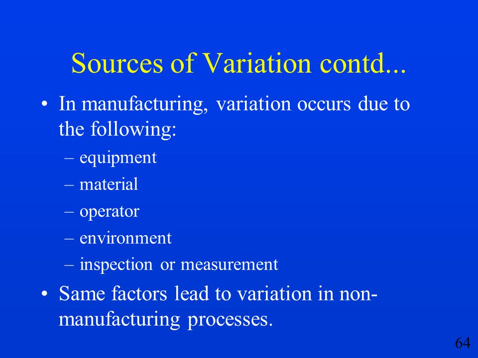 Sources of Variation contd...