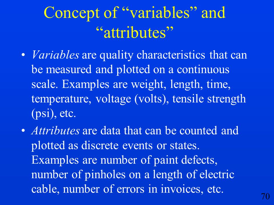 Concept of variables and attributes