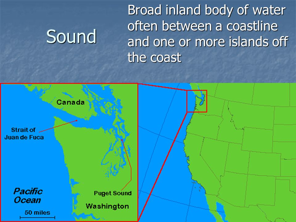 Broad inland body of water often between a coastline and one or more islands off the coast