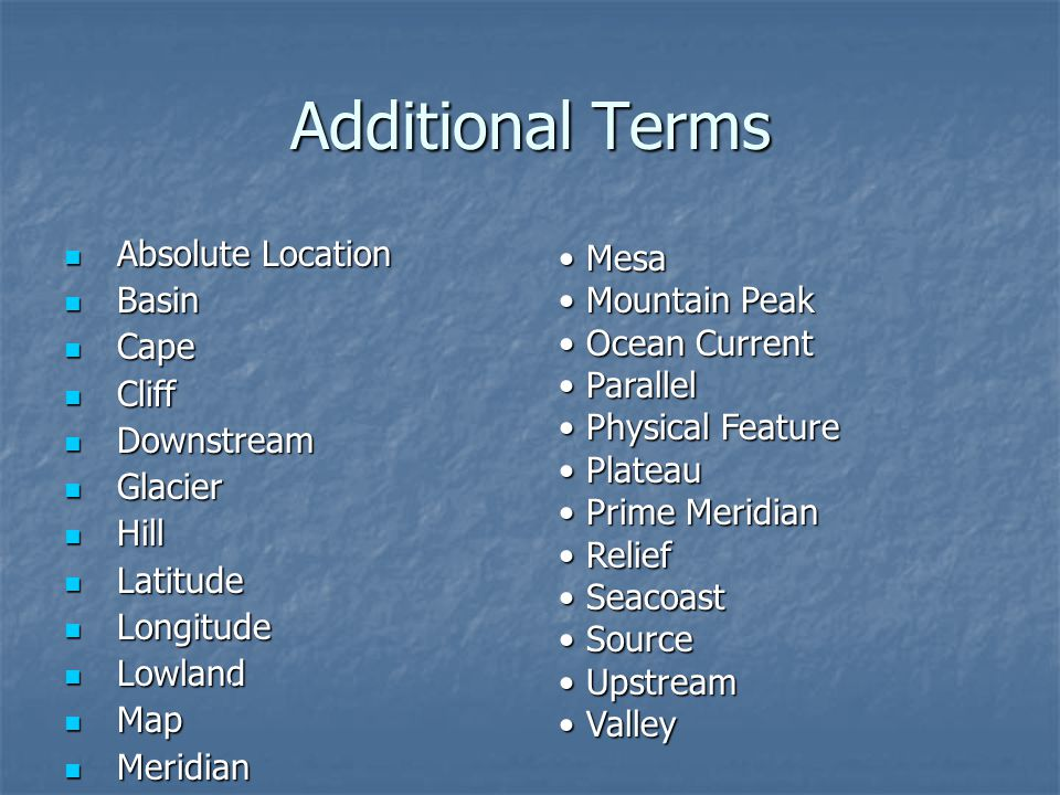 Additional Terms Absolute Location Basin Cape Cliff Downstream Glacier
