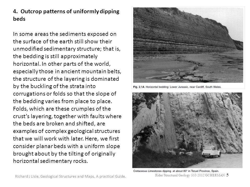 4. Outcrop patterns of uniformly dipping beds