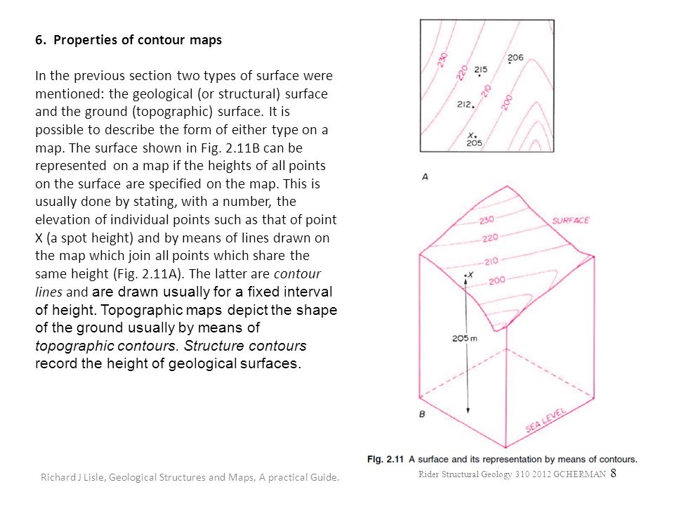 6. Properties of contour maps In the previous section two types of surface were mentioned: the geological (or structural) surface and the ground (topographic) surface. It is possible to describe the form of either type on a map. The surface shown in Fig. 2.11B can be represented on a map if the heights of all points on the surface are specified on the map. This is usually done by stating, with a number, the elevation of individual points such as that of point X (a spot height) and by means of lines drawn on the map which join all points which share the same height (Fig. 2.11A). The latter are contour lines and are drawn usually for a fixed interval of height. Topographic maps depict the shape of the ground usually by means of topographic contours. Structure contours record the height of geological surfaces.