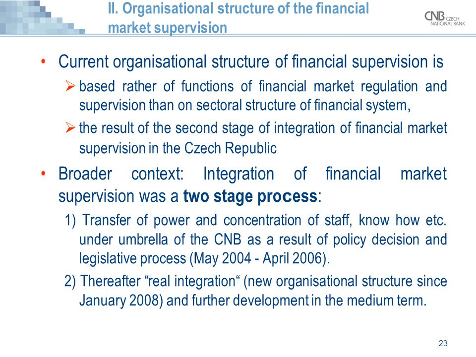 II. Organisational structure of the financial market supervision