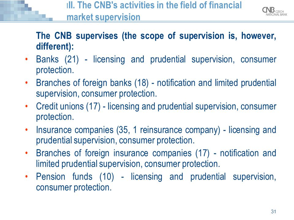 III. The CNB s activities in the field of financial market supervision