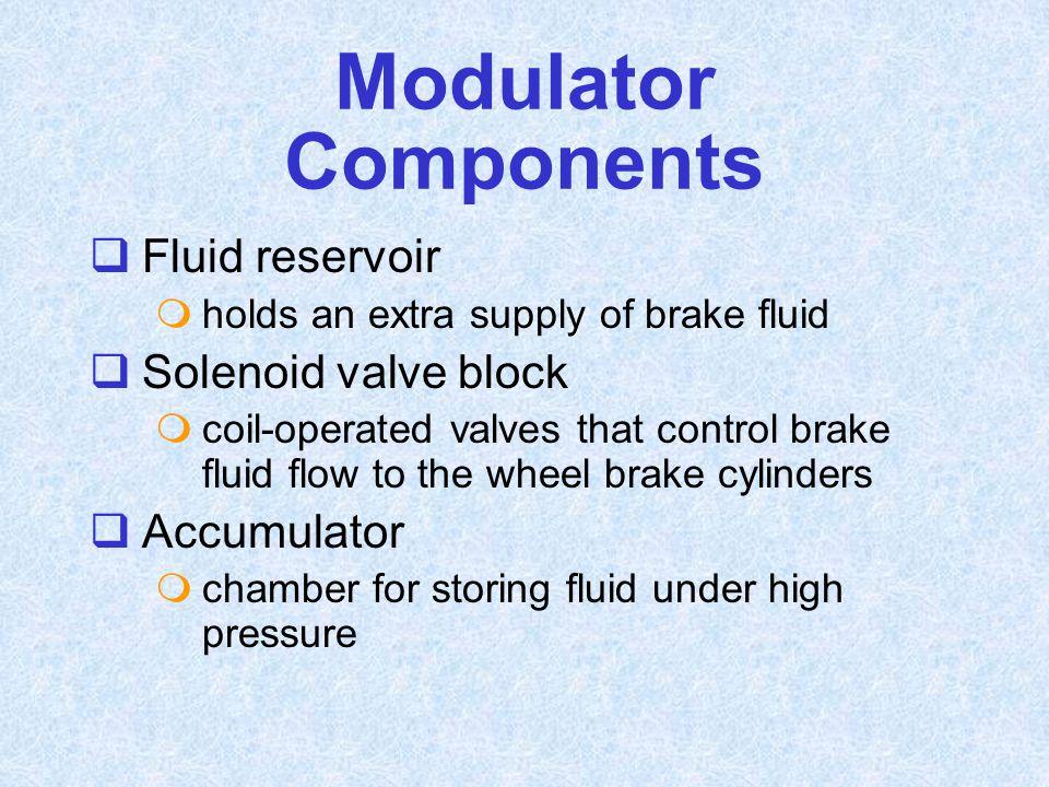 Modulator Components Fluid reservoir Solenoid valve block Accumulator