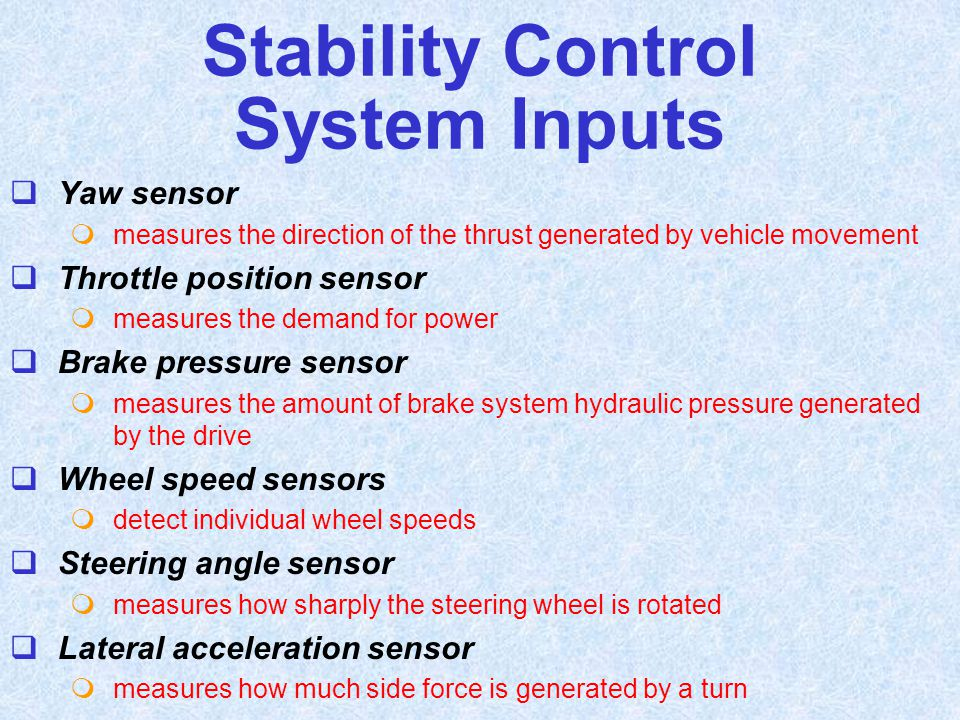 Stability Control System Inputs