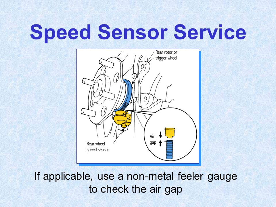 If applicable, use a non-metal feeler gauge to check the air gap