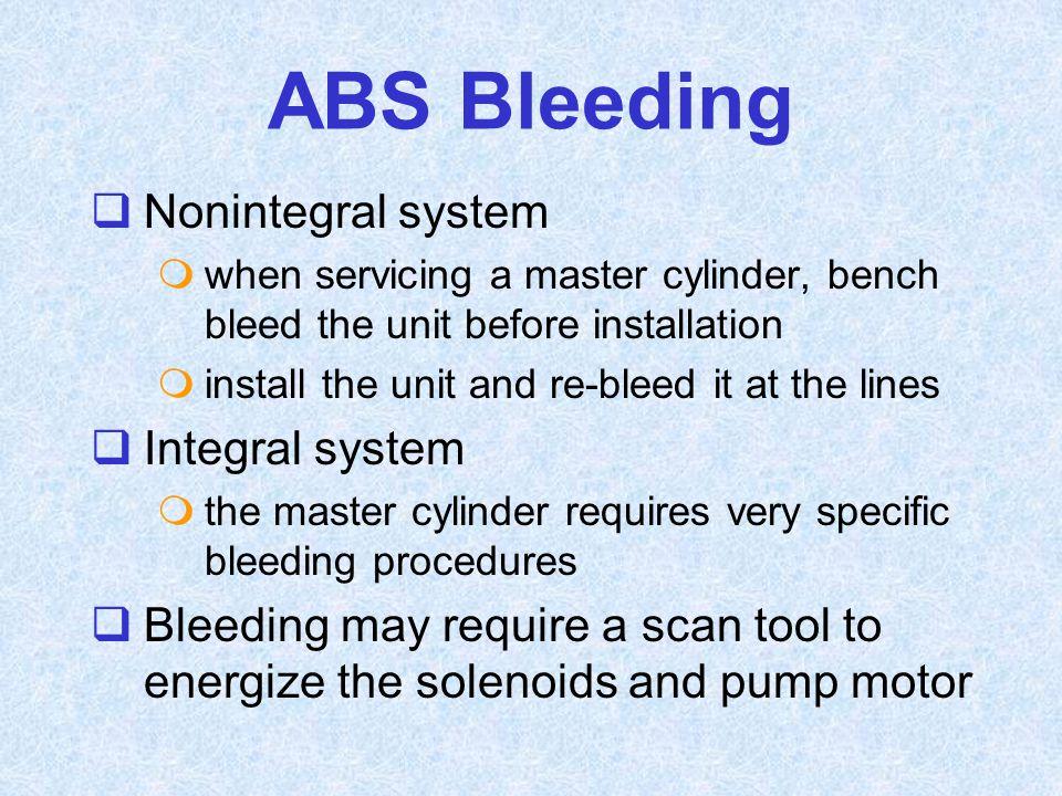 ABS Bleeding Nonintegral system Integral system