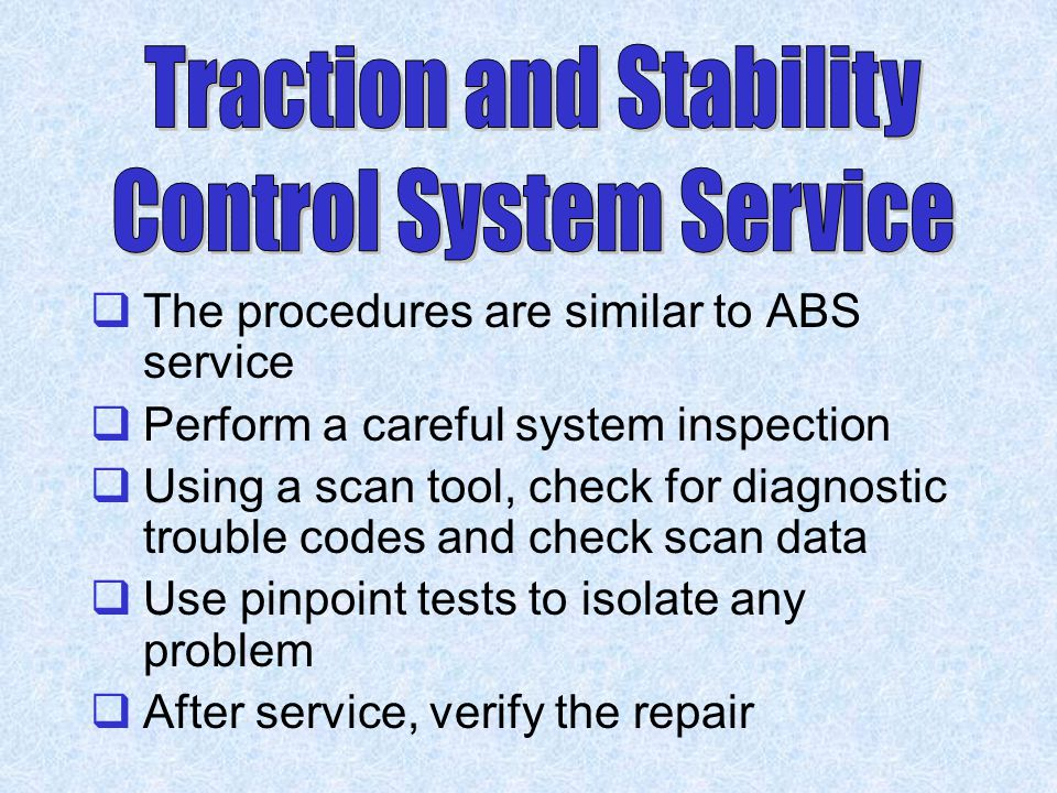 Traction and Stability Control System Service