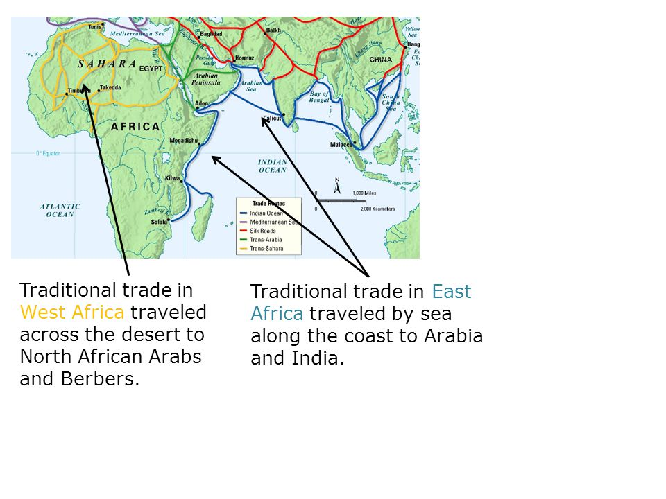 Traditional trade in West Africa traveled across the desert to North African Arabs and Berbers.