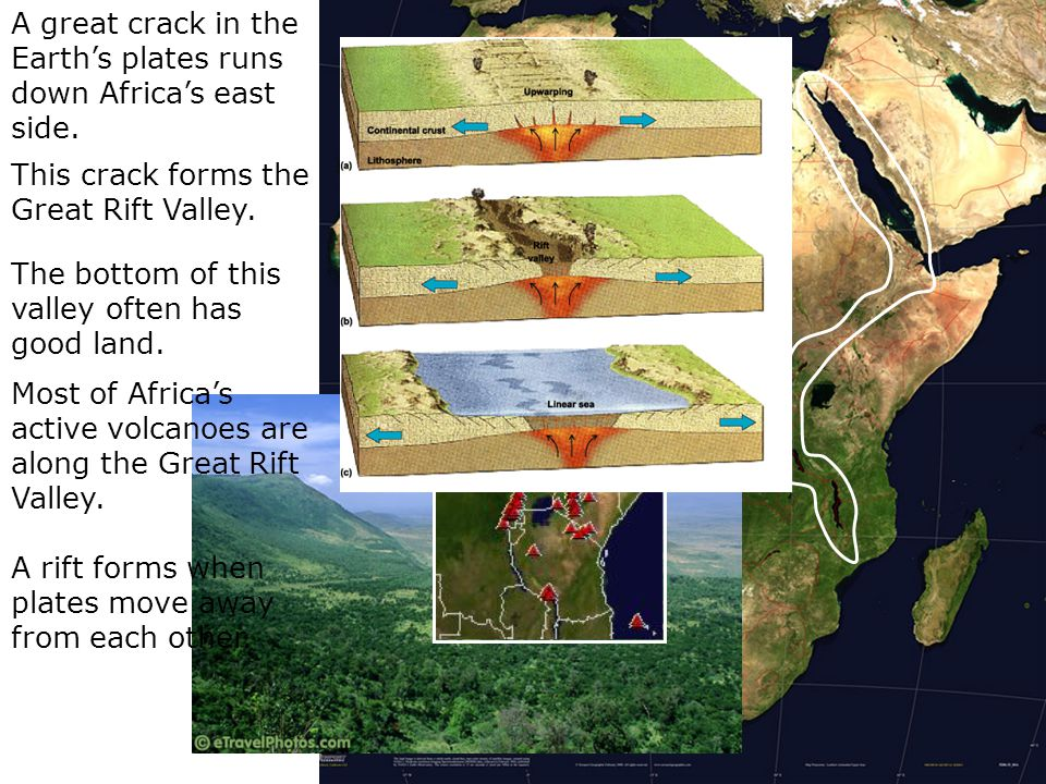 A great crack in the Earth's plates runs down Africa's east side.