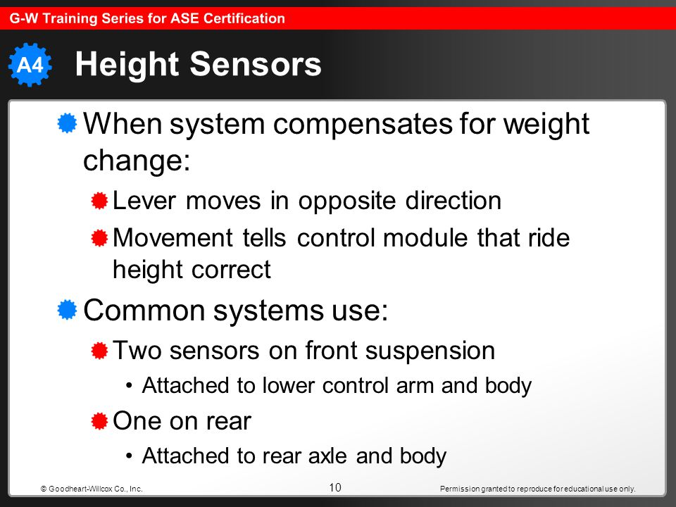 Height Sensors When system compensates for weight change: