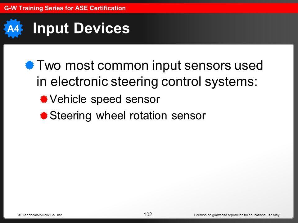 Input Devices Two most common input sensors used in electronic steering control systems: Vehicle speed sensor.