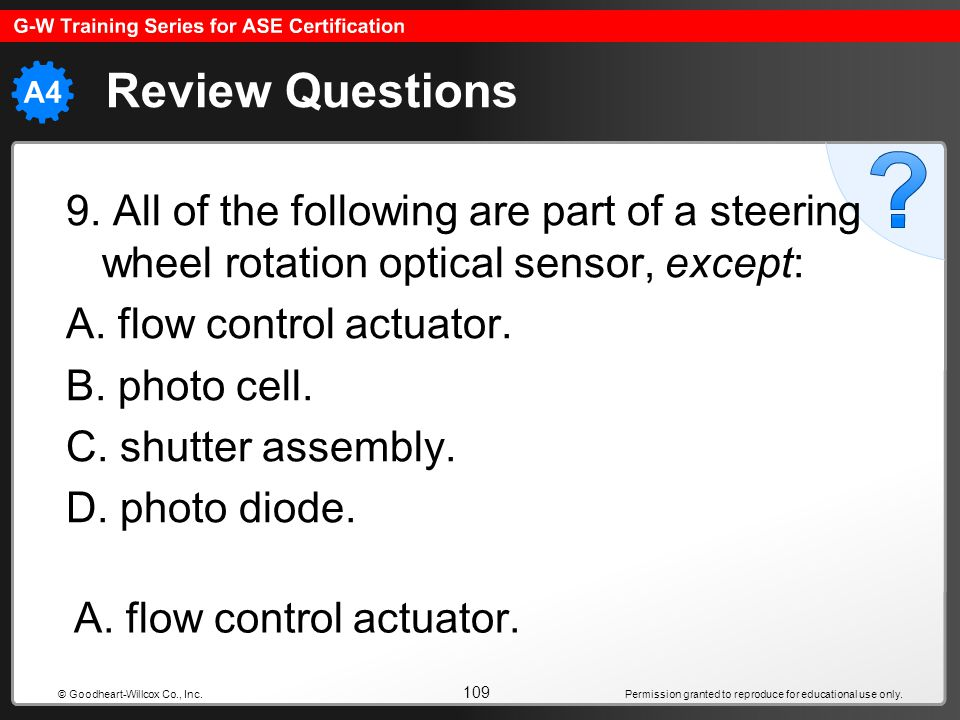Review Questions 9. All of the following are part of a steering wheel rotation optical sensor, except:
