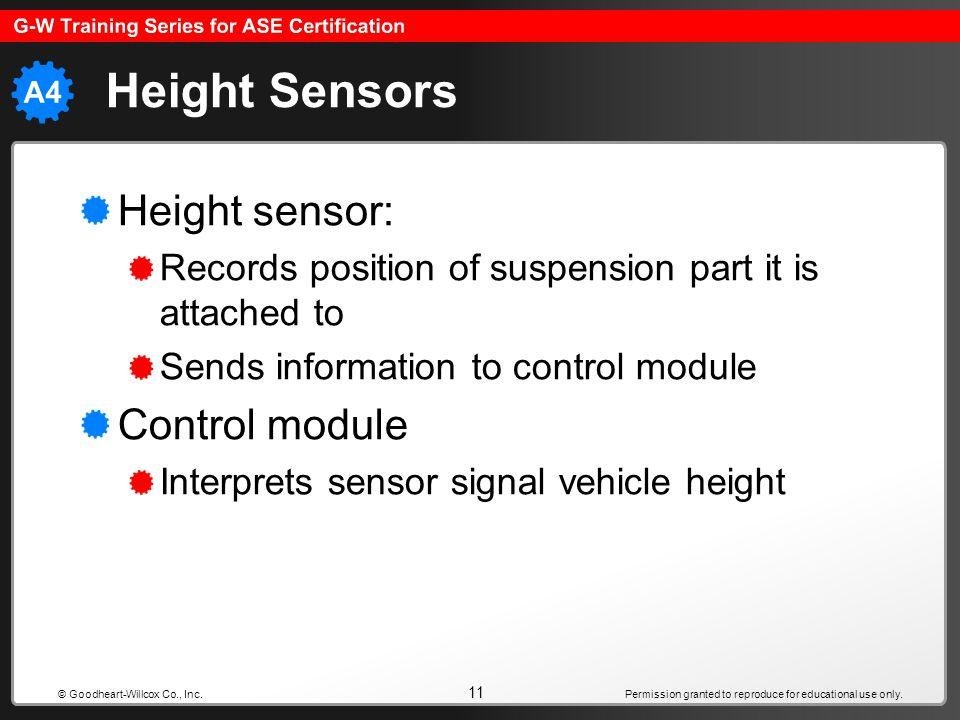 Height Sensors Height sensor: Control module