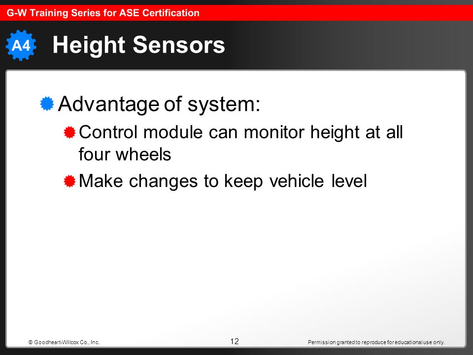 Height Sensors Advantage of system: