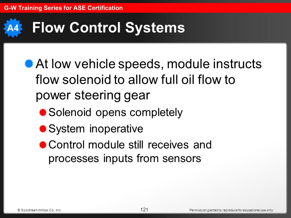 Flow Control Systems At low vehicle speeds, module instructs flow solenoid to allow full oil flow to power steering gear.