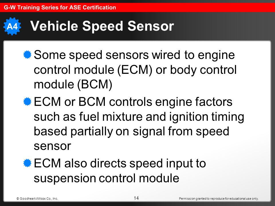 Vehicle Speed Sensor Some speed sensors wired to engine control module (ECM) or body control module (BCM)
