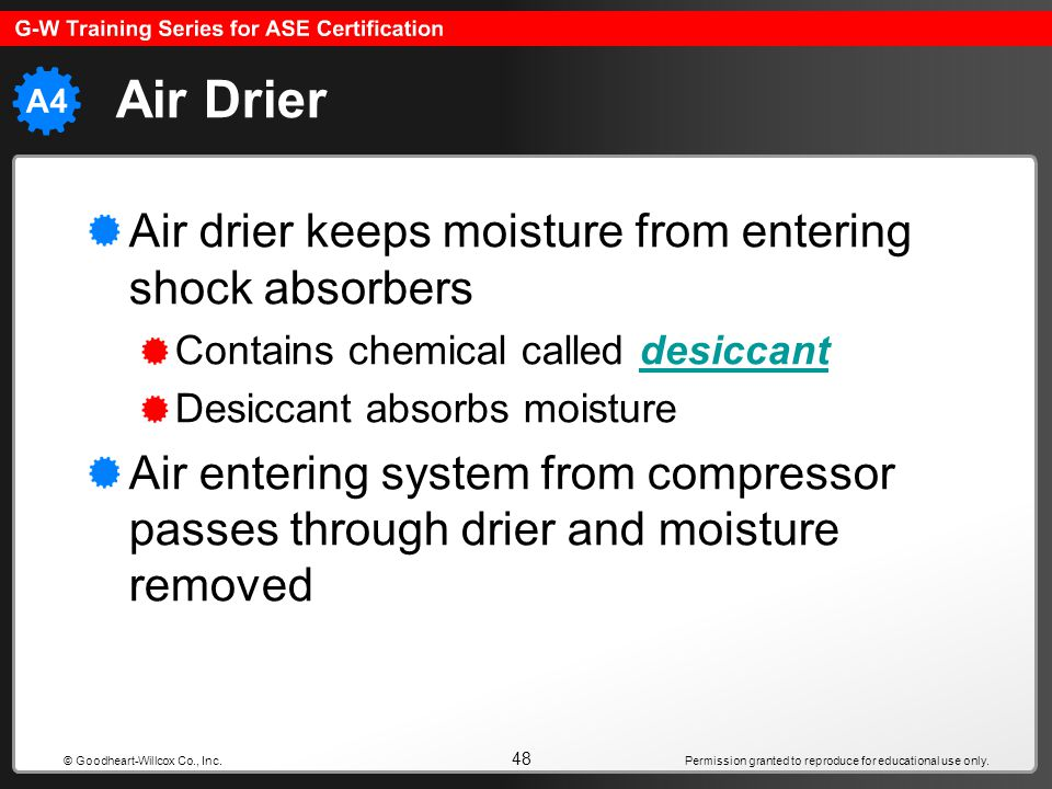 Air Drier Air drier keeps moisture from entering shock absorbers
