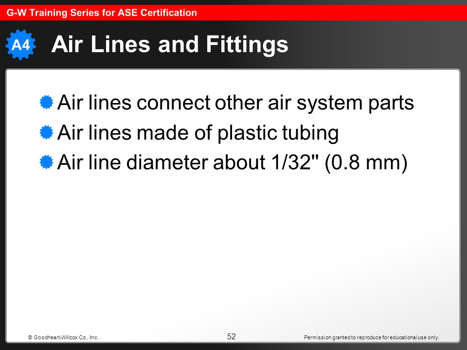 Air Lines and Fittings Air lines connect other air system parts