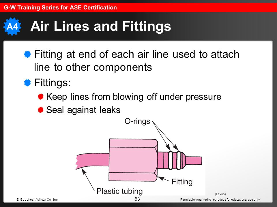 Air Lines and Fittings Fitting at end of each air line used to attach line to other components. Fittings: