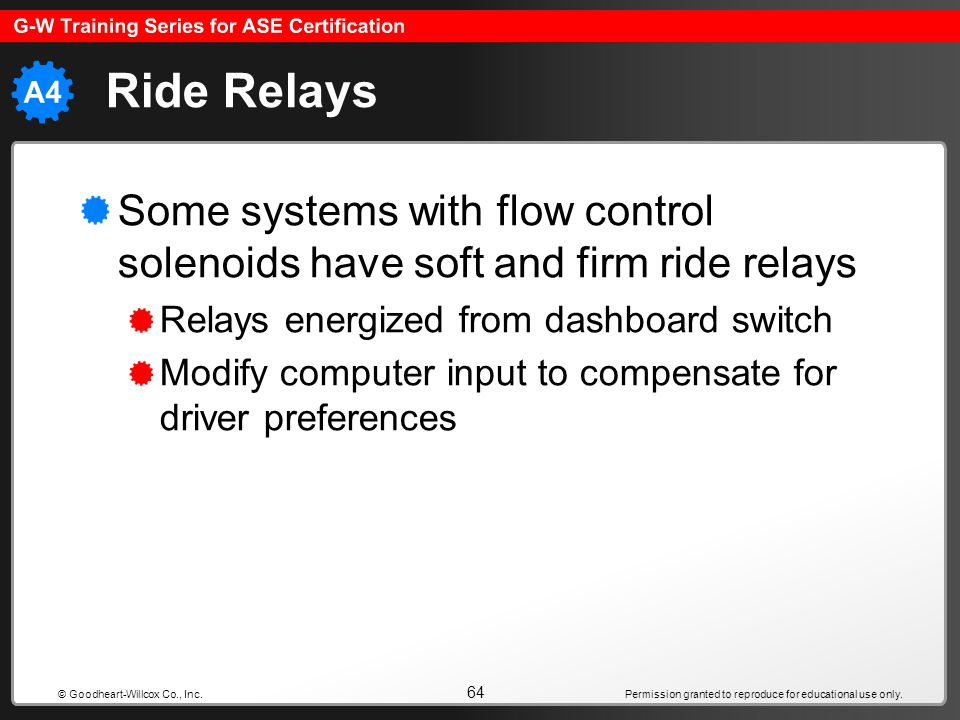 Ride Relays Some systems with flow control solenoids have soft and firm ride relays. Relays energized from dashboard switch.