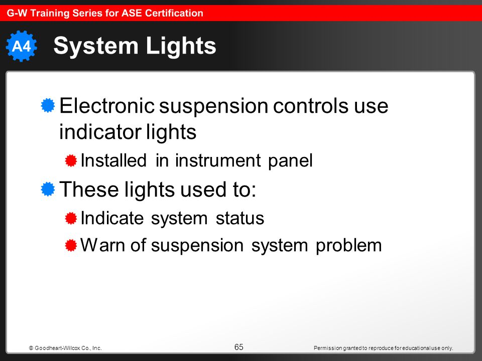 System Lights Electronic suspension controls use indicator lights