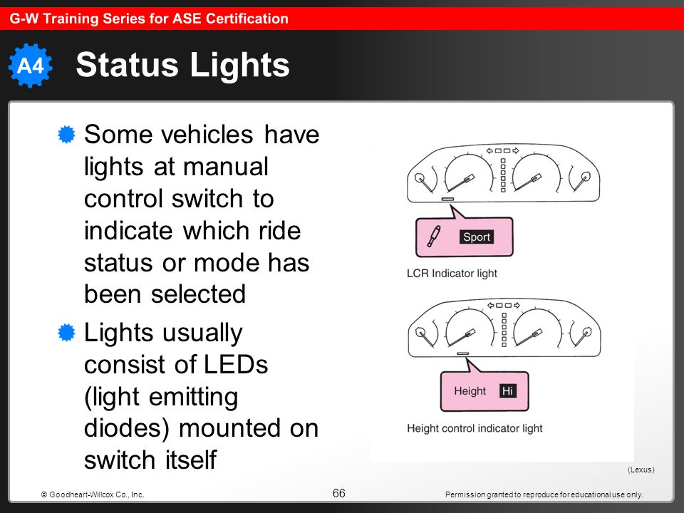 Status Lights Some vehicles have lights at manual control switch to indicate which ride status or mode has been selected.