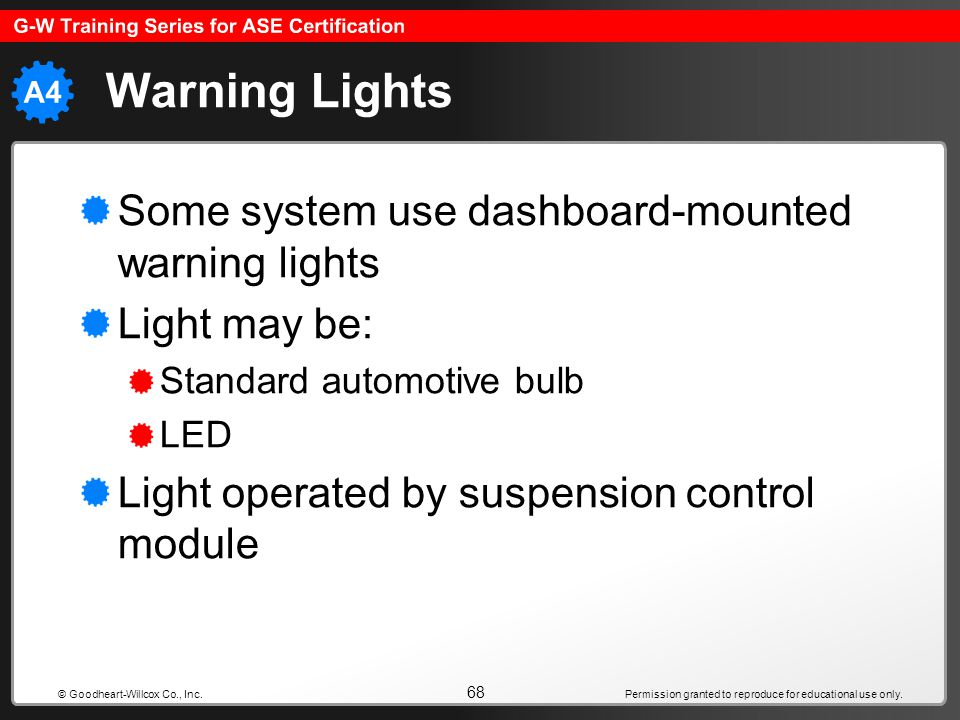 Warning Lights Some system use dashboard-mounted warning lights