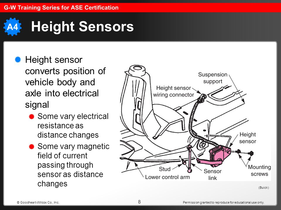 Height Sensors Height sensor converts position of vehicle body and axle into electrical signal. Some vary electrical resistance as distance changes.