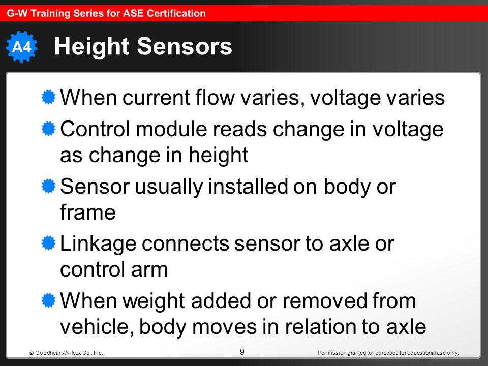Height Sensors When current flow varies, voltage varies