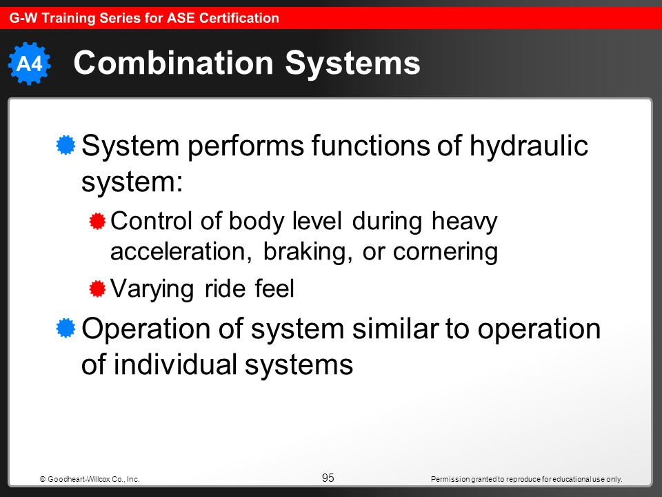 Combination Systems System performs functions of hydraulic system: