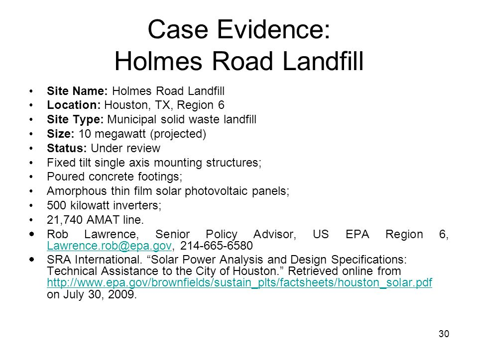 Case Evidence: Holmes Road Landfill