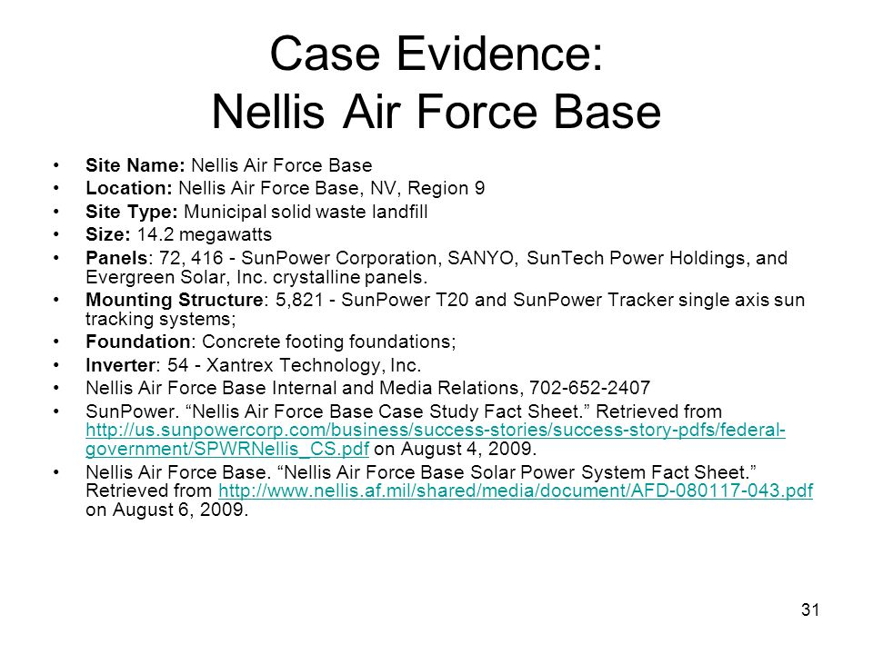 Case Evidence: Nellis Air Force Base
