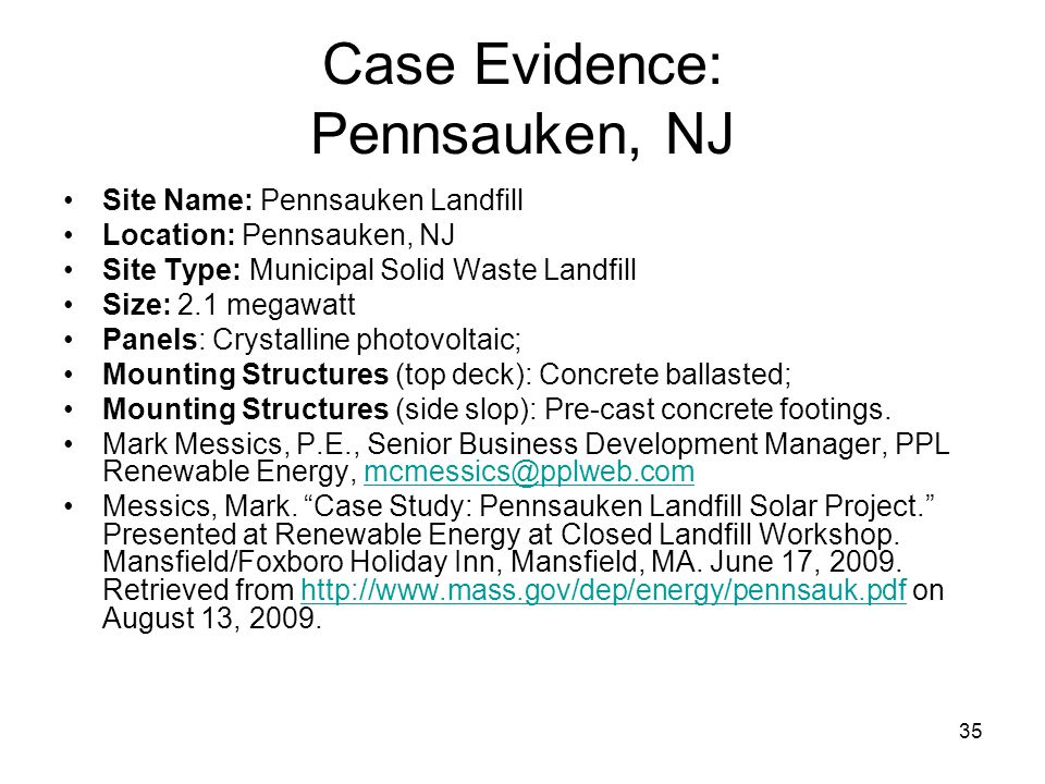 Case Evidence: Pennsauken, NJ