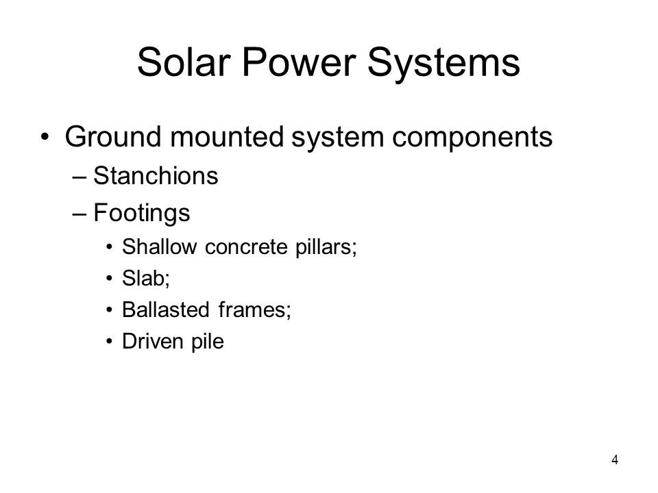 Solar Power Systems Ground mounted system components Stanchions