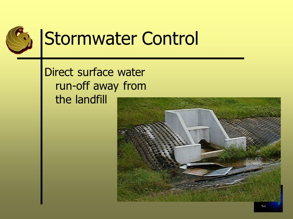Stormwater Control Direct surface water run-off away from the landfill